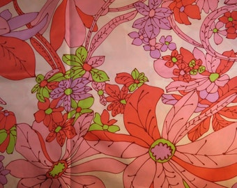 Vintage Floral Polyester Dress Fabric 2 Yards