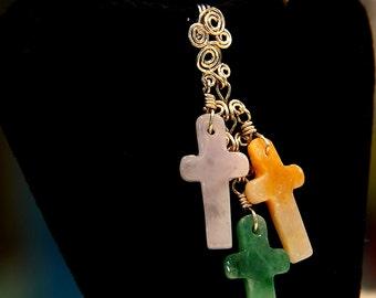 Precious Cross   ...   Natural Jade / Anti Tarnish 925 sterling Silver PENDANT