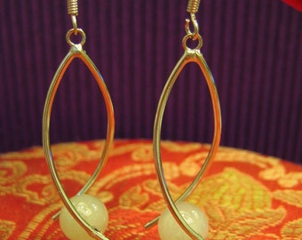 BALL ... Natural Jade Bead Earrings