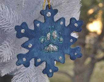 Winter Wolf Paw Print - Hand Painting Ornament