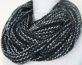 knitwear scarf - white /black scarf  / long scarf