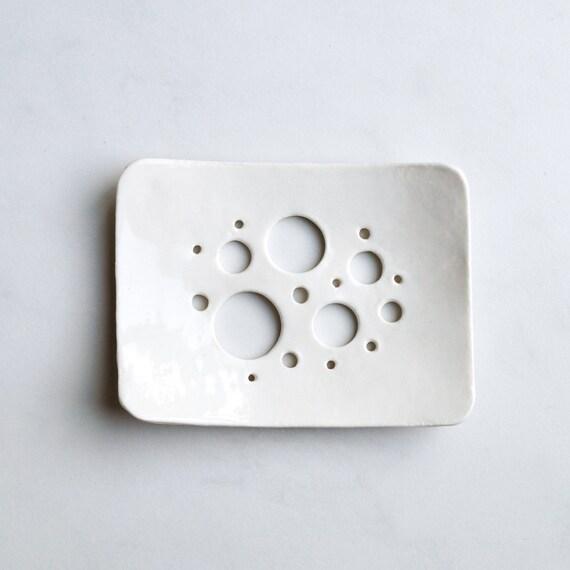 White Glaze Bubble Holes Soap Dish Porcelain By Vanillakiln
