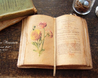 Miniature Open Book Ranunculas Flowers/Botany A Field Guide for Dollhouse 1/12 Scale