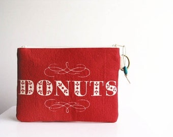Dollars to Donuts Red Zipper Clutch Funny Purse Womens Accessories Smarthphone Pouch