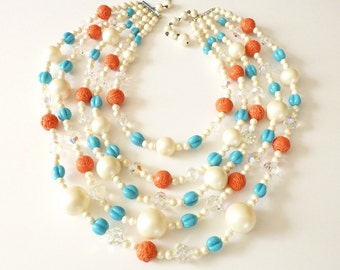 Vintage Runway Pearl Necklace with Coral, Turquoise and Crystal Beads Statement Necklace 1990s