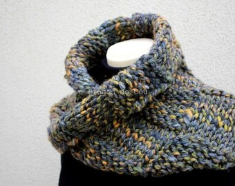 Knitted Neckwarmer in shades of grey, blue, yellow and green -Scarf - Handmade by T. Catana - Made to Order: 3-4 business days.