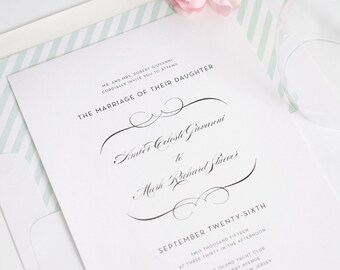 French Romance Traditional Wedding Invitations - Deposit