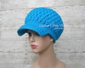 On Sale - Adult/Teen Ladies Medium Crochet Newsboy Hat, Women's Girl's Blue Billed Cap, Trendy Winter Wear Accessory, Christmas Gift