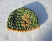 Initial Baby Hat, Personalized Newborn Baby Hat, Crochet Green and Tan Baby Hat , Baby Shower Gift, Cap for Baby Boy, Photo Prop