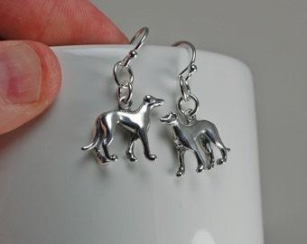 Walking Greyhound 3D Sterling Silver Hook Earrings