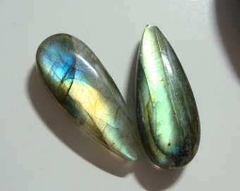 AAA+ Spectacular Firey Green Gold Blue Flash Labradorite Half Drilled Smooth Pear Teardrop Briolette - 25x10mm - a22-2