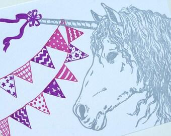 SALE - Happy Birthday Letterpress card - Birthday Unicorn - 60% off