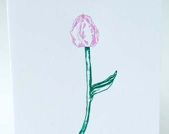 SALE - Sympathy Letterpress card - Tulip - 60% off