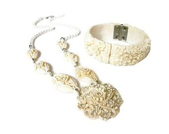 Celluloid Necklace Bracelet Ivory White Rhinestone Floral Molded Early Plastic Vintage Jewelry Set