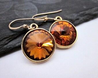 Copper Crystal Earrings -- Gold & Copper Crystal Dangles -- Crystal Drop Earrings -- Copper Swarovski Crystal Earrings
