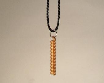 Antique copper piano string necklace