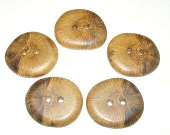 """5 Handmade  oak wood buttons, accessories ( 1,57"""" diameter x 0,28"""" thick)"""
