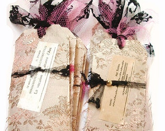 Handmade Fabric Tags. French Tags. Gift Tags. French Tags. French Gift Tags. Fabric Tags. French Brocade Fabric & Lace.