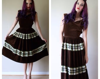 SALE 50s Velvet Dress /  Taffeta / Plaid Party Dress / Brown & Green / Chocolate and Mint / Size Small sm 0-2