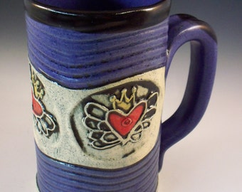 Stoneware Heart Mug, Handmade Coffee Mug, Tea Mug, Unique Mug, Valentines Mug, Heart with Crown and Wings, Sacred Heart Mug, Purple
