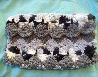 CLEARANCE Bag Crochet Purse Makeup Bag  Pencil Case Grey Black and White Paolo Purse