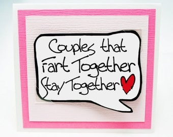 Funny Valentines Day Card for Couples. Cute Fart Card. Love Card. Fun Love You Card.Birthday Fun Card. MN024