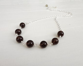 Smoky quartz necklace chain necklace brown stone necklace minimalist necklace for women