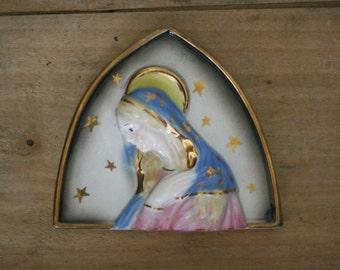 vintage ceramic mary plaque by sanmyro