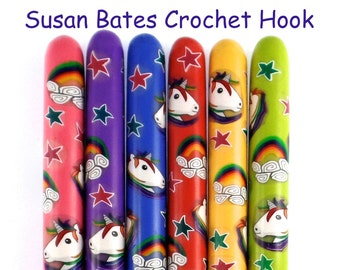 Crochet Hook, Polymer Clay Covered Susan Bates Crochet Hook, Unicorn and Rainbows