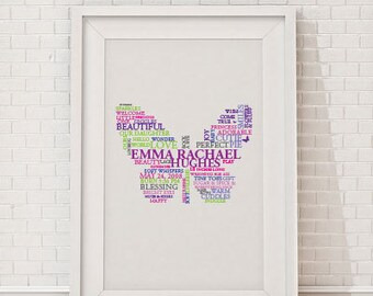 Custom Butterfly Word Art