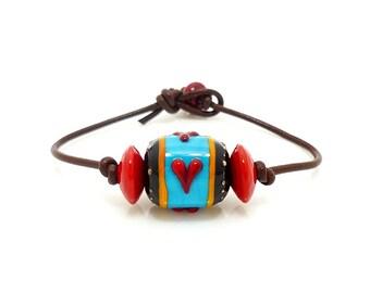 Leather Cord Bracelet, Lampwork Bracelet, Lampwork Focal Bracelet, Lampwork Jewelry, Simple Bracelet, Beadwork Bracelet, Minimalist Jewelry