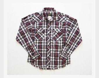 Vintage Plaid Western Shirt - Pearl Snap Button Down Shirt by Rustler XL