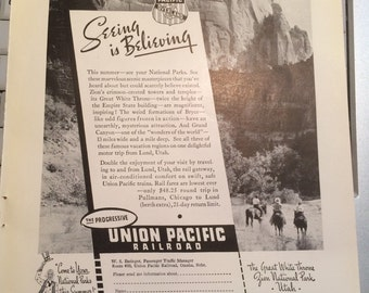 Union Pacific Railroad ad circa 1937 Seeing is Believing The Great White Thrown Zion National Park Utah