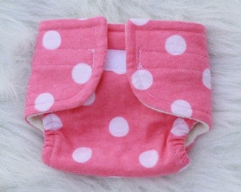 Baby Doll Diaper Big Pink Dot  - Size Small
