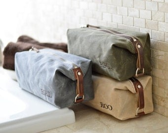 NO. 345 Dopp Kit, Gift for Him, Personalized Groomsmen Gift, Certified American Made from American Waxed Cotton Canvas and Horween Leather