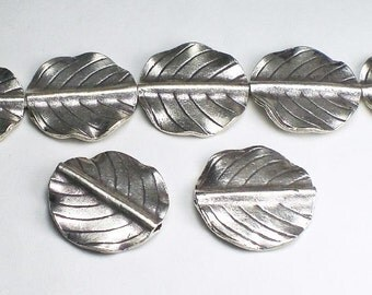 Round 22mm Leaf Bead Hill Tribe Fine Silver HT-253