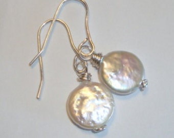 Coin Pearls and Sterling Silver Earrings - Elegant Statement Earrings - Sleek and Fashionable - Fine Jewelry - Natures Artistry - Handmade