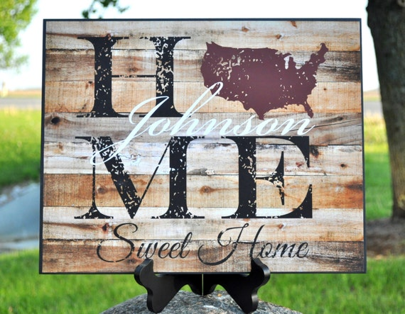 Personalized Family Name Sign Home Sweet Home Rustic Wood Sign