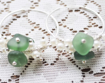 Sea Glass Jewelry Beach Earrings Dark Green 30mm Hoops Sterling with Pearls Genuine Sea Glass Beach Hoop Earrings Free Shipping 8454