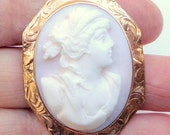 10k Rose Gold Setting, Antique, Hand Carved, Baby Skin, Pink Shell Cameo, Brooch/Pendent, Italian Cameo