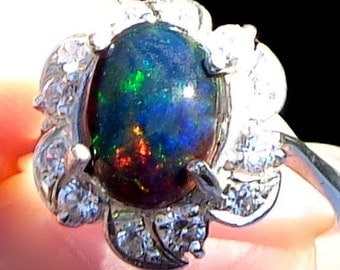 Black Welo Opal Ring, Natural Gemstone,Amazing Color Play,Blue,Green,Red,Orange Fire,Genuine Ethiopian Opal, Fine Jewelry