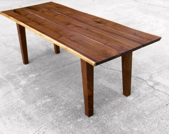 Walnut Live Edge Dining Table with Tapered Legs - Custom Tapered Leg Table - Black Walnut Hardwoods - Handmade in USA - Customized
