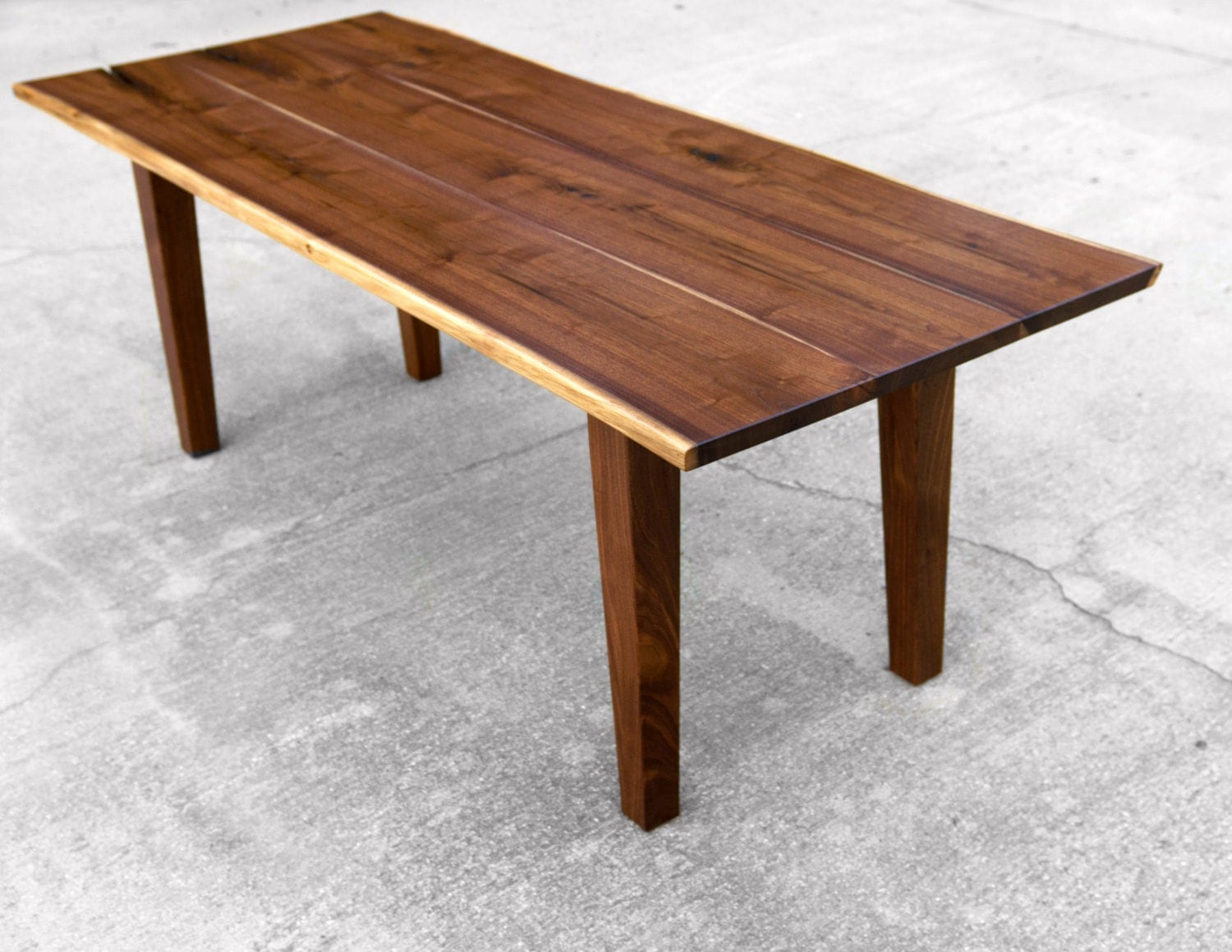 Walnut Live Edge Dining Table with Tapered Legs Custom