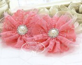 "Emmalyn: 3.5"" inch (2pcs) CORAL Pink - Soft Tulle Lace Fabric flowers rhinestone pearl button center. Bridal Favor Hair Brooch headband"