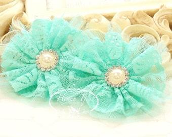 "Emmalyn: 3.5"" inch (2pcs) MINT Aqua Green - Soft Tulle Lace Fabric flowers rhinestone pearl button center. Bridal Favor Hair Brooch headband"