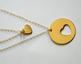 Mother One Daughter Heart Cut Out Necklace, 14K Gold Fill, Ready To Ship, Three Necklaces, Mother's Day Gift, Grandmother Gift, Nana