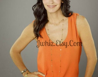 14K Gold Disc Necklace, 30 34 38 44 inch Small 4mm Disc, Cougar Town Inspired Worn by Jules Cobb, Courtney Cox, Wrapped Double Jewelry Chain