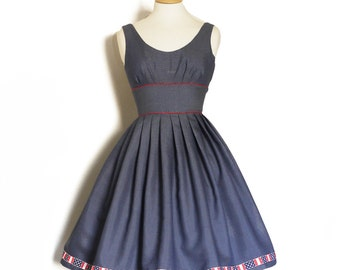 Navy & White Stripe Low Back Scoop Neck Prom Dress- Made by Dig For Victory