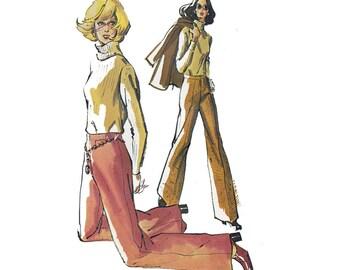 70s Womens Pants Pattern Kwik Sew 638 Vintage Sewing Pattern Vintage PLUS SIZE Sizes 12 14 16 UNCUT Factory Folds