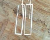 Sterling Open Rectangle Long Earrings, Bar Earrings, Geometric Earrings, Minimalist Earrings, Modern Earrings, Sterling Bar Earrings
